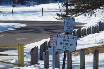 Entrance to Chamber's Grove Park in the Fond du Lac area of Duluth, Minnesota in March 2016. The park is closed until next year while it receives a facelift.